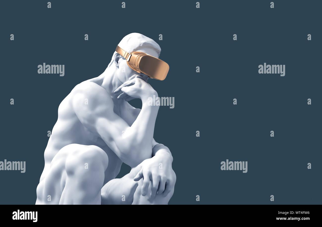 Skulptur Denker Mit Goldenen Vr Brille Auf Blauem Hintergrund 3d Darstellung Stockfotografie Alamy