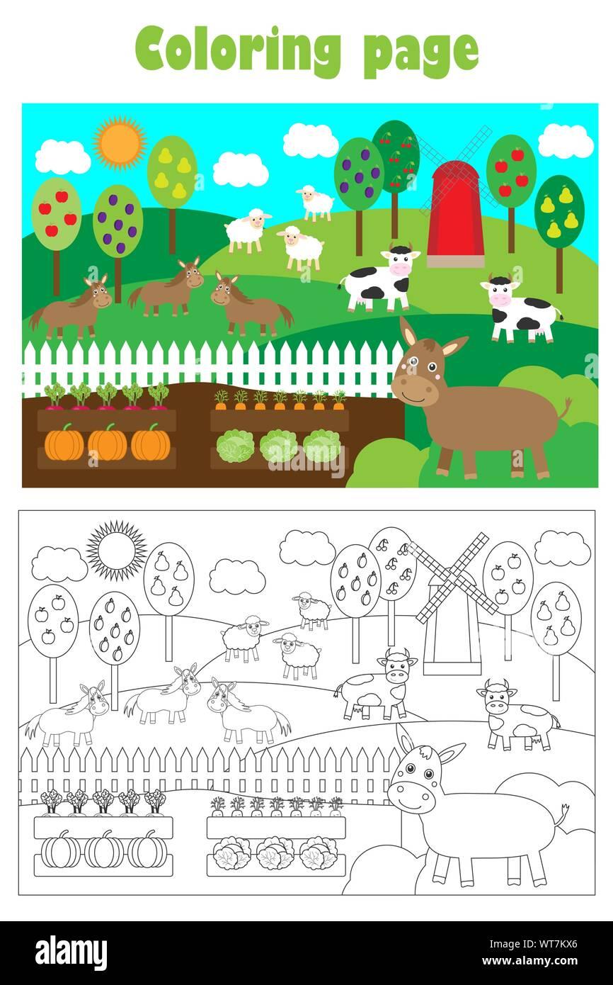 Bauernhof Tiere und Garten, Cartoon Stil, Färbung, Bildung Papier Spiel für die Entwicklung der Kinder, Kinder im Vorschulalter Aktivität, bedruckbar Stock Vektor