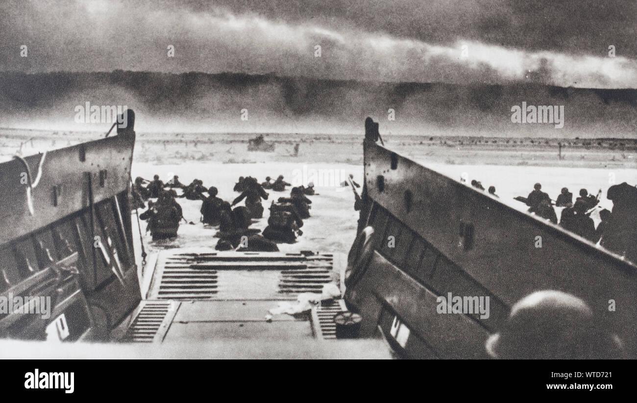 Original WWII US Allies 1944 Invasion von Frankreich Geld 10 Franken D-Day