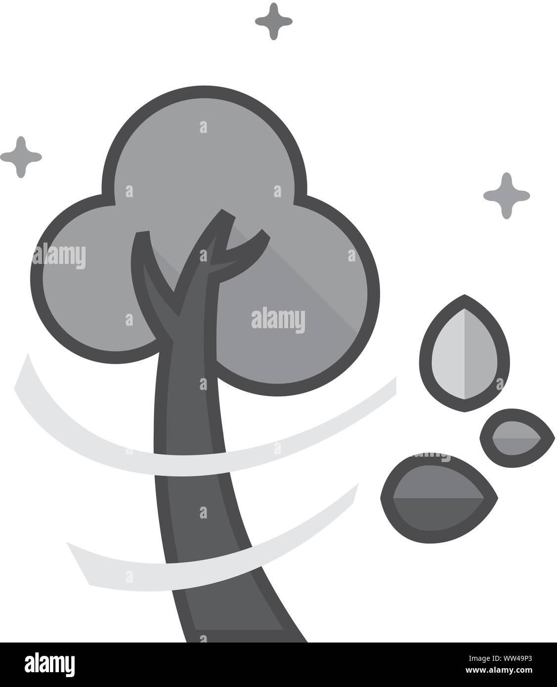 Baum Symbol in flachen Umrissen Graustufen Stil. Vector Illustration. Stock Vektor