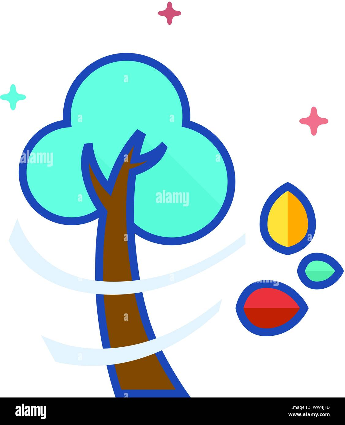Baum Symbol in Umrissen flachen Farbe Stil. Vector Illustration. Stock Vektor