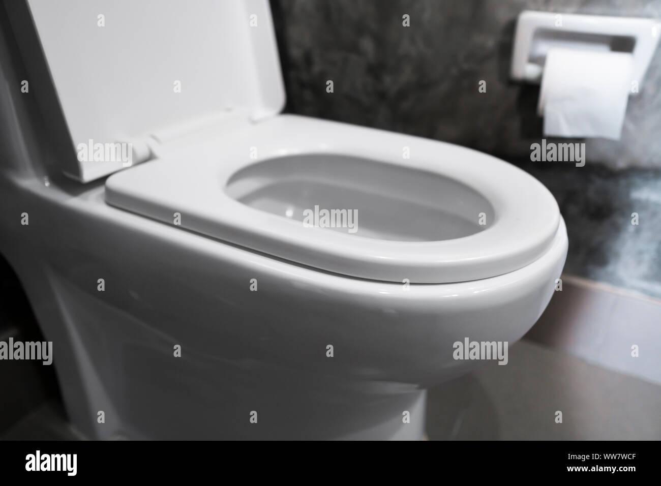 Weiß auf Weiß hängende WC-Sitz WC im Badezimmer mit grauen ...