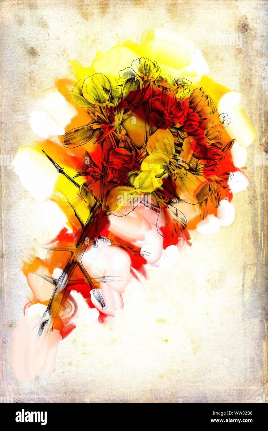 Abstrakte Blumen Ole Malerei Kunst Illustration Stockfotografie Alamy