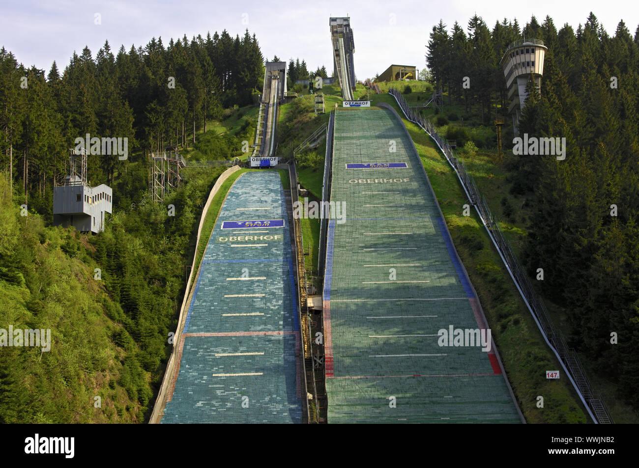 Skisprung arena Bin Kanzlersgrund in der Nähe von Oberhof. Stockfoto