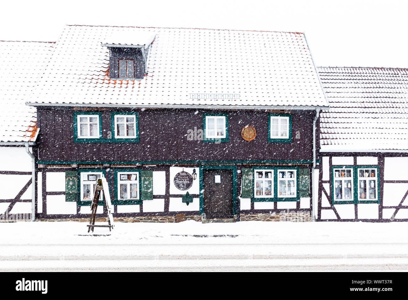 Mausefallen Museum Güntersberge im Winter Stockfoto