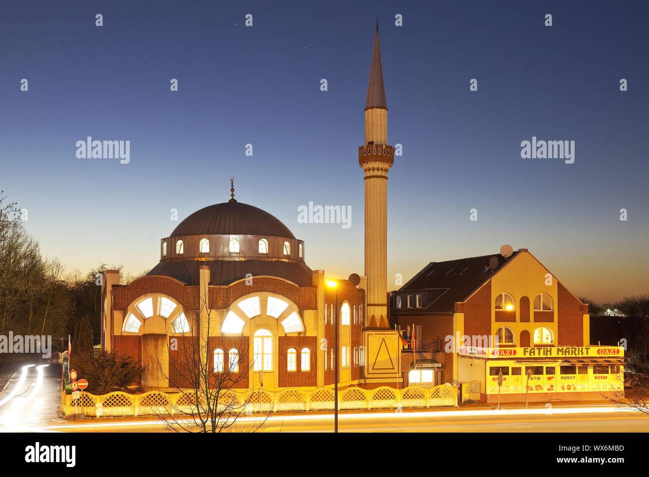 Glauben Moschee am Abend, Essen, Ruhrgebiet, Nordrhein-Westfalen, Essen, Deutschland, Europa Stockfoto