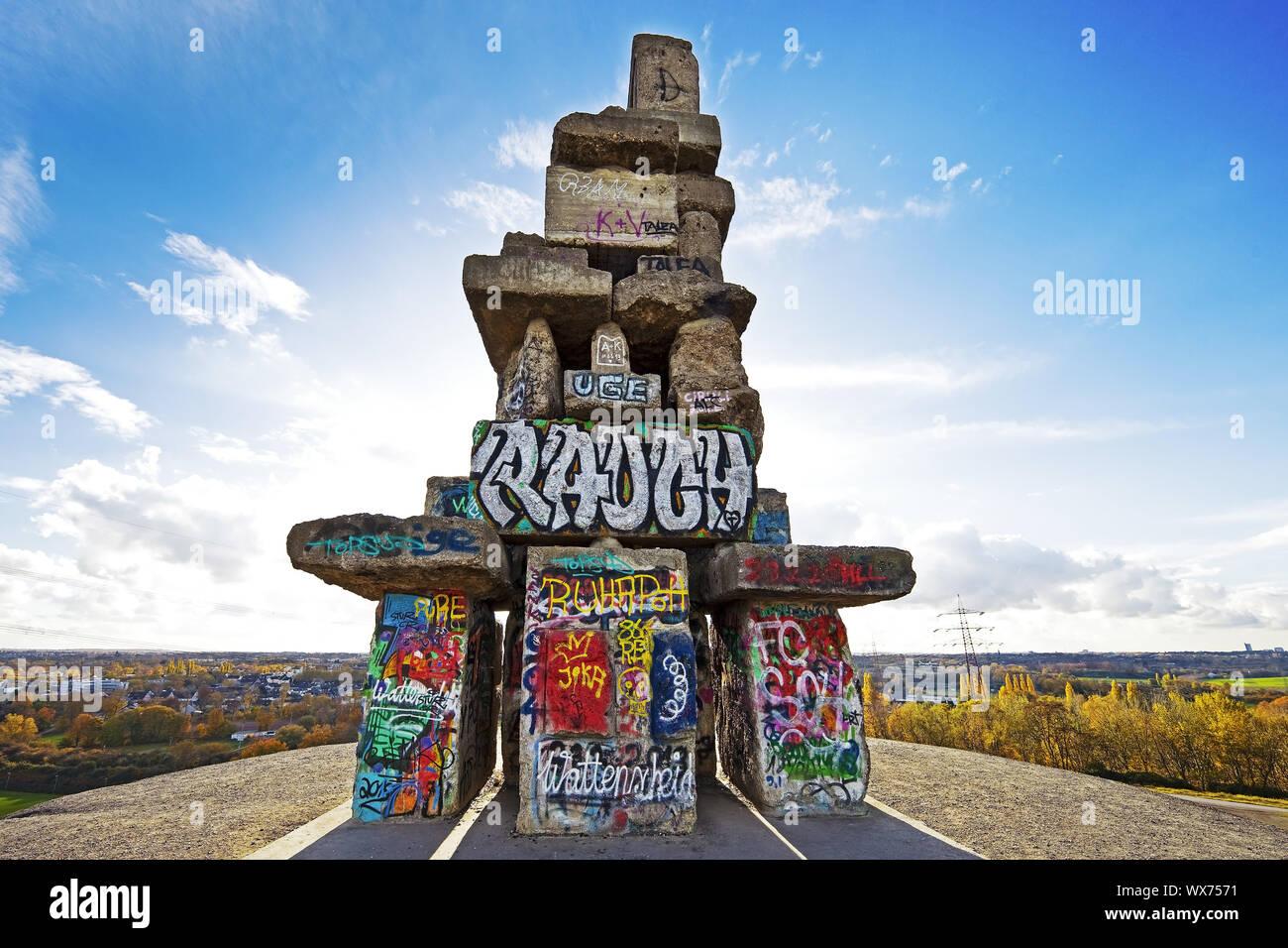 Graffiti auf der Treppe des Himmels, verderben Tipp Rhein Elbe, Gelsenkirchen, Ruhrgebiet, Deutschland, Europa Stockfoto