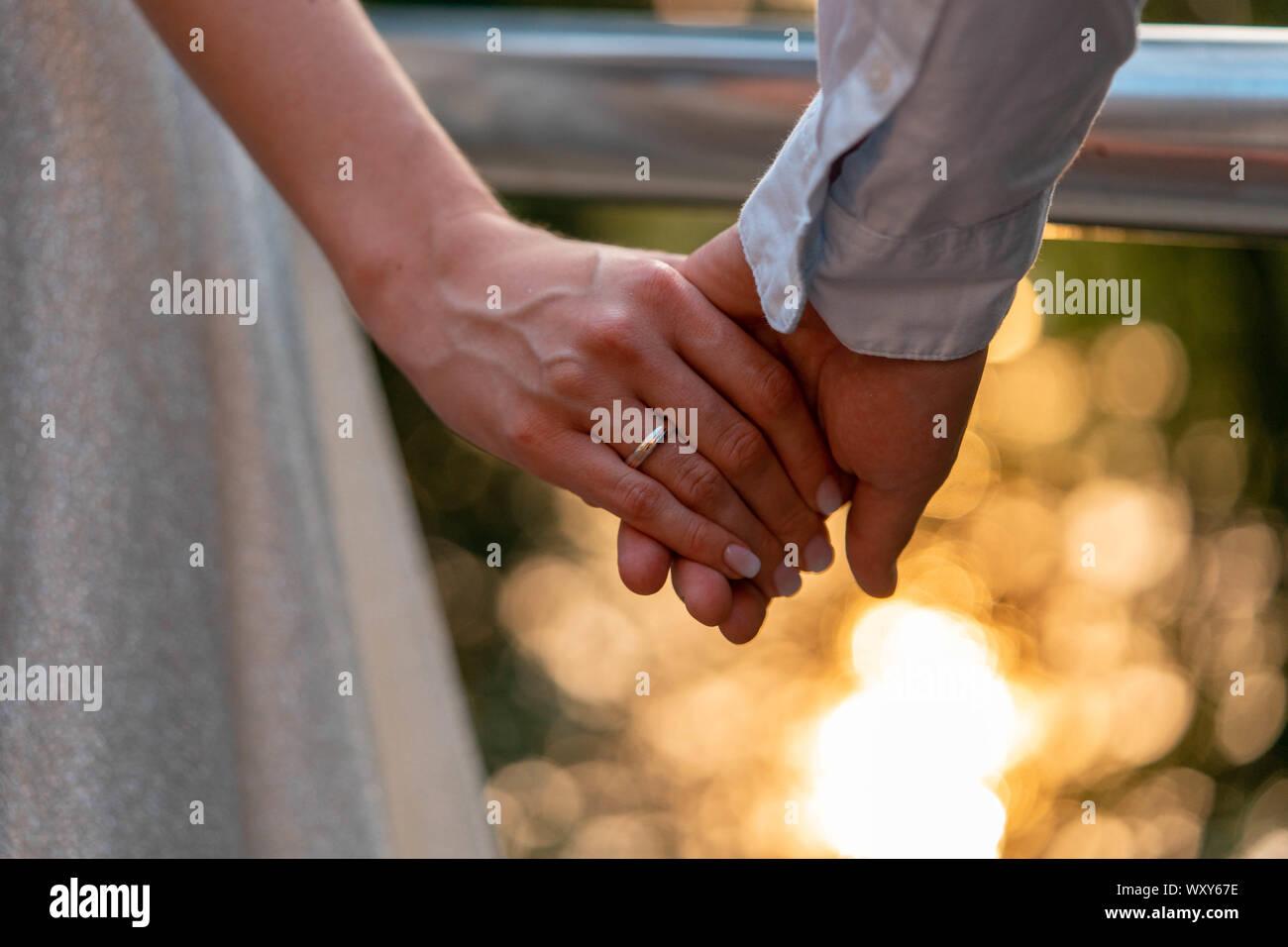 Nahaufnahme von Trauringe auf Braut und Bräutigam Hände. Angabe der Trauringe im Freien im Sommer oder Herbst Park Stockfoto