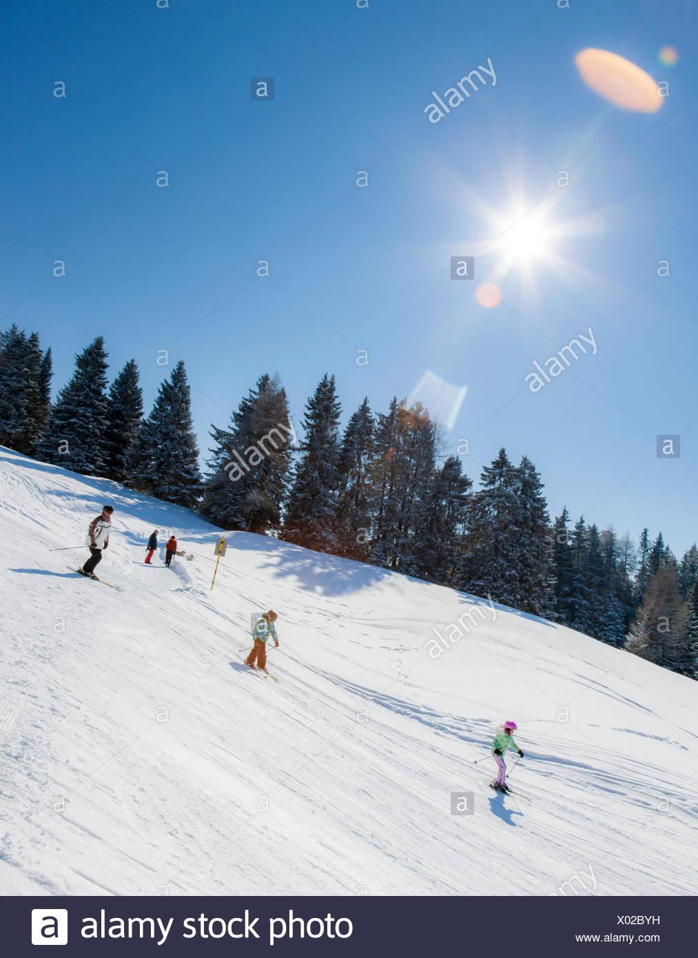 Schweiz, Lenzerheide, Menschen Skifahren Stockbild