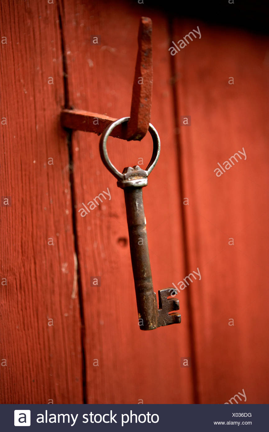 Nahaufnahme der Schlüssel hängt am Haken Stockbild