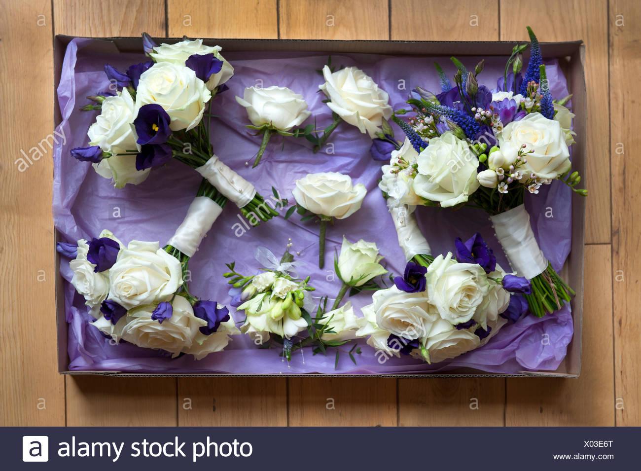 Feld Der Hochzeitsblumen In Weiss Und Lila Stockfoto Bild 275442912