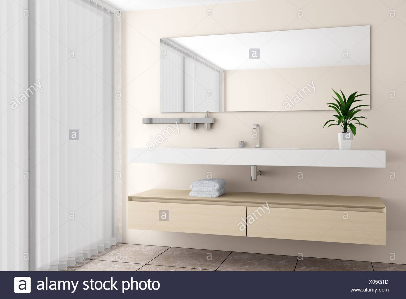 modernes Bad mit Beige Wand Stockfoto, Bild: 275488233 - Alamy