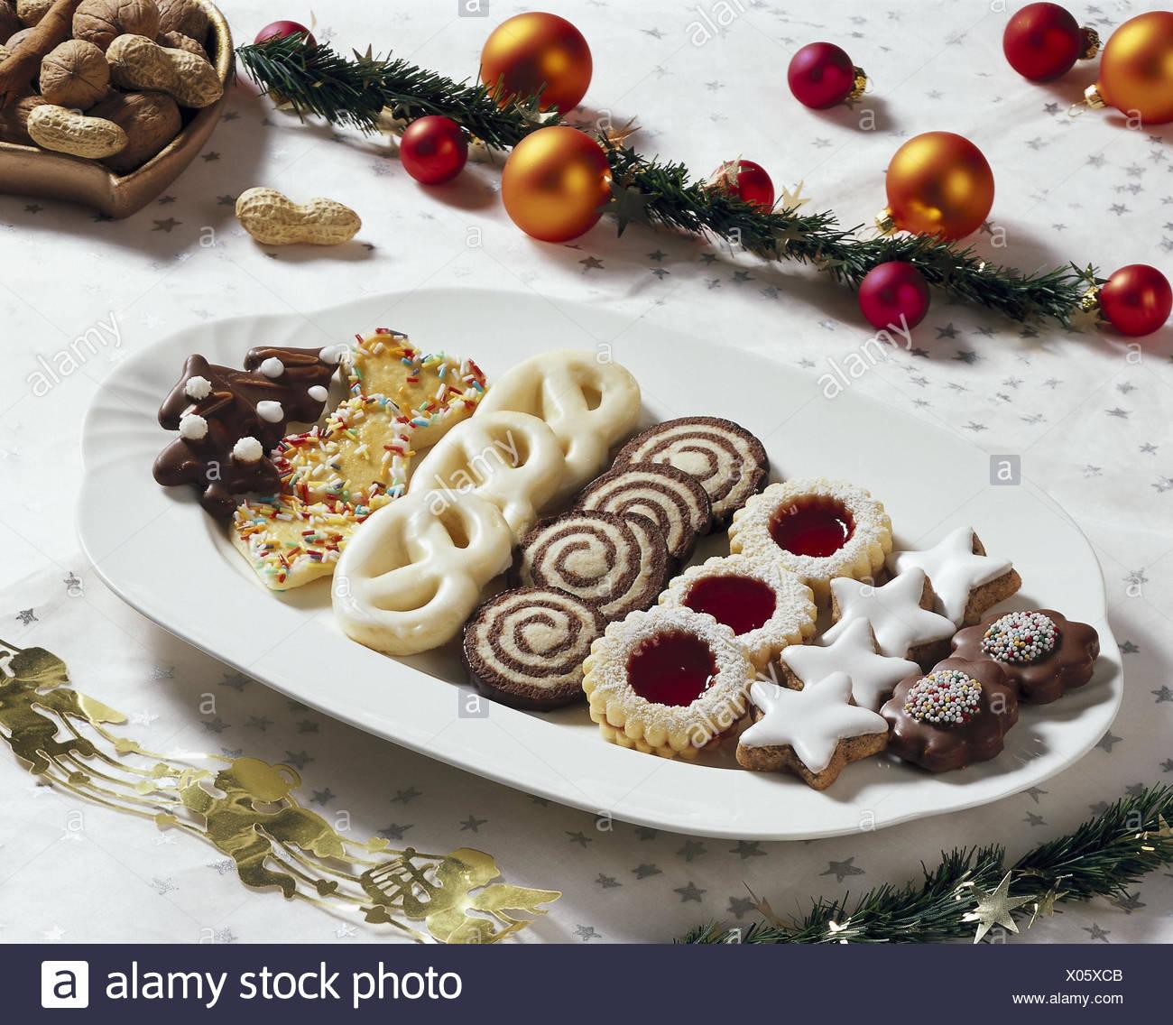 Weihnachten Tisch Schmuckt Platte Weihnachtskuchen Biskuit Yule