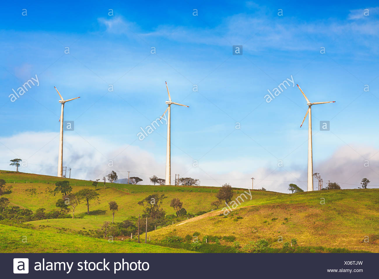 Horizontalen Achse Windkraftanlagen Stockbild