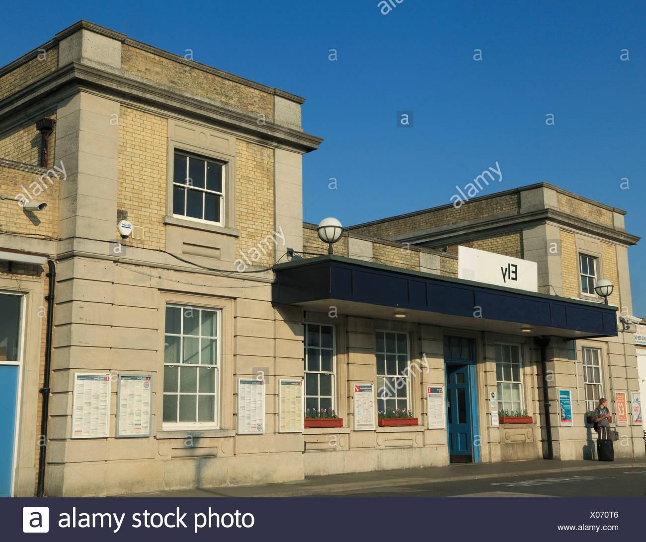 Eingang Bahnhof Ely, Cambridgeshire England UK Stockbild