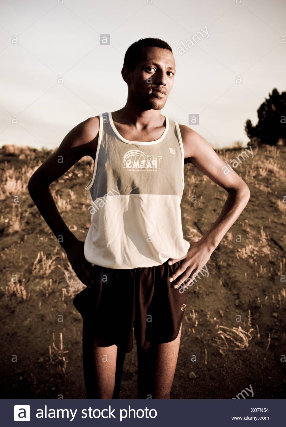 Porträt eines Marathon-Läufers Stockbild