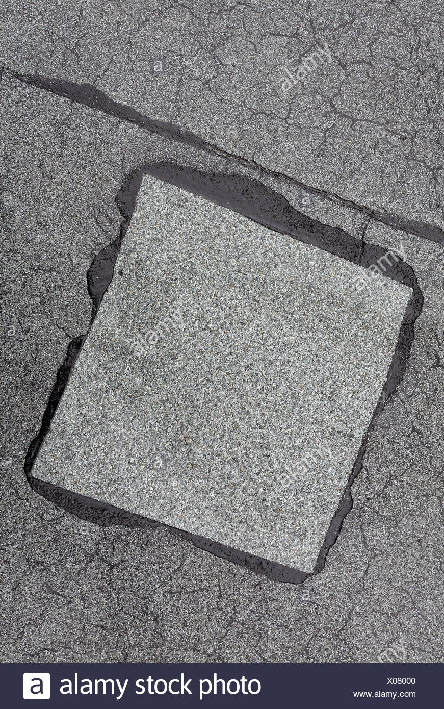 Gepatcht Up Reparierten Bereich Auf Dem Dach Gemacht Von Dachpappe