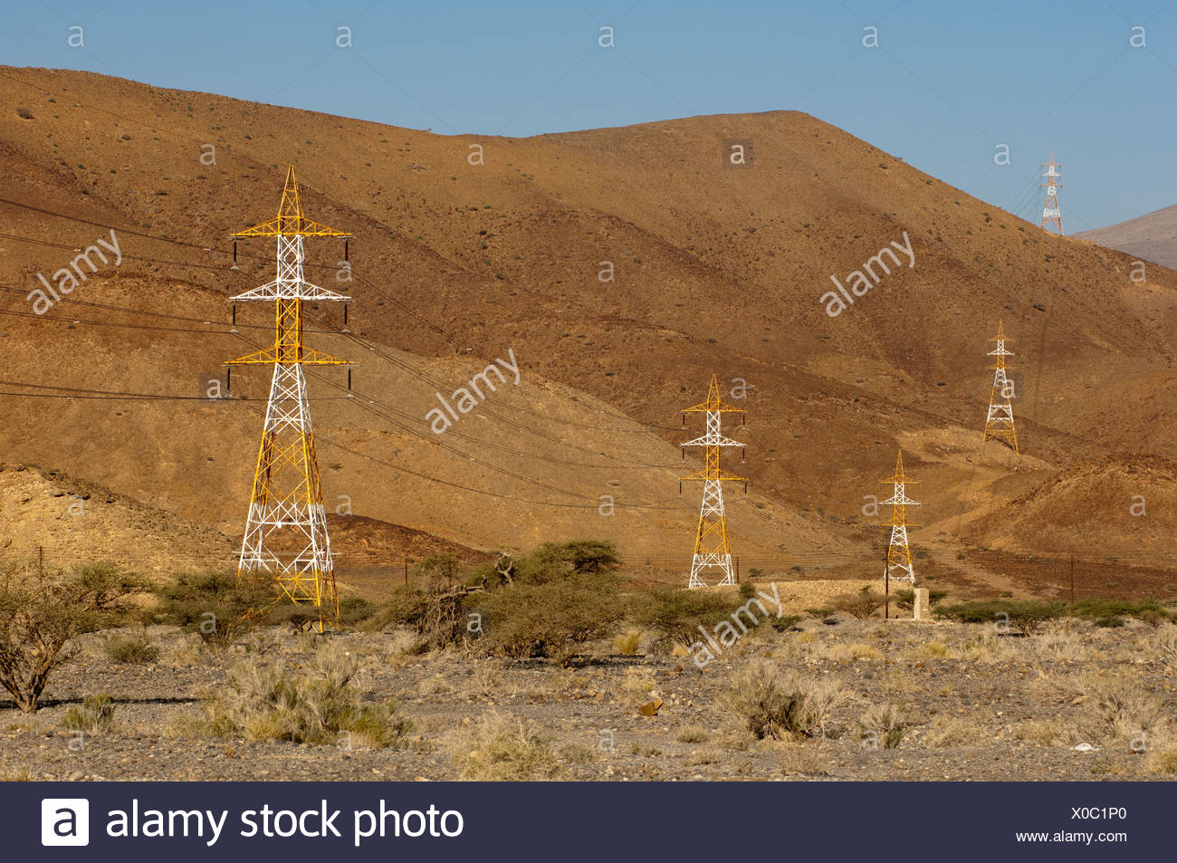 Red White Electricity Pylons Stockfotos & Red White Electricity ...