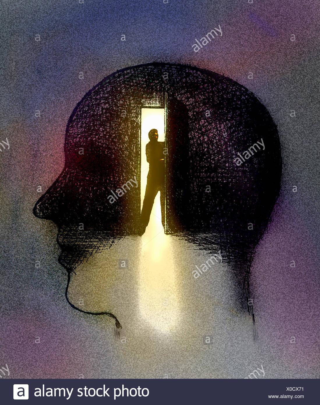 Mann Türöffnung im Inneren Gliederung Profil der Kopf des Mannes Stockbild