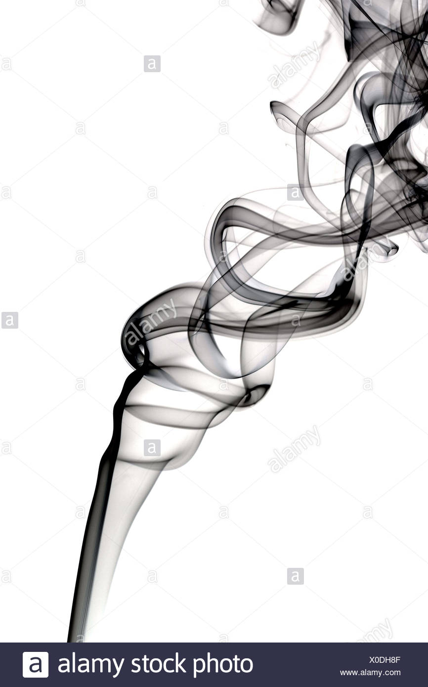 Abstrakte dunkler Rauch. Isoliert auf weißem Hintergrund Stockbild