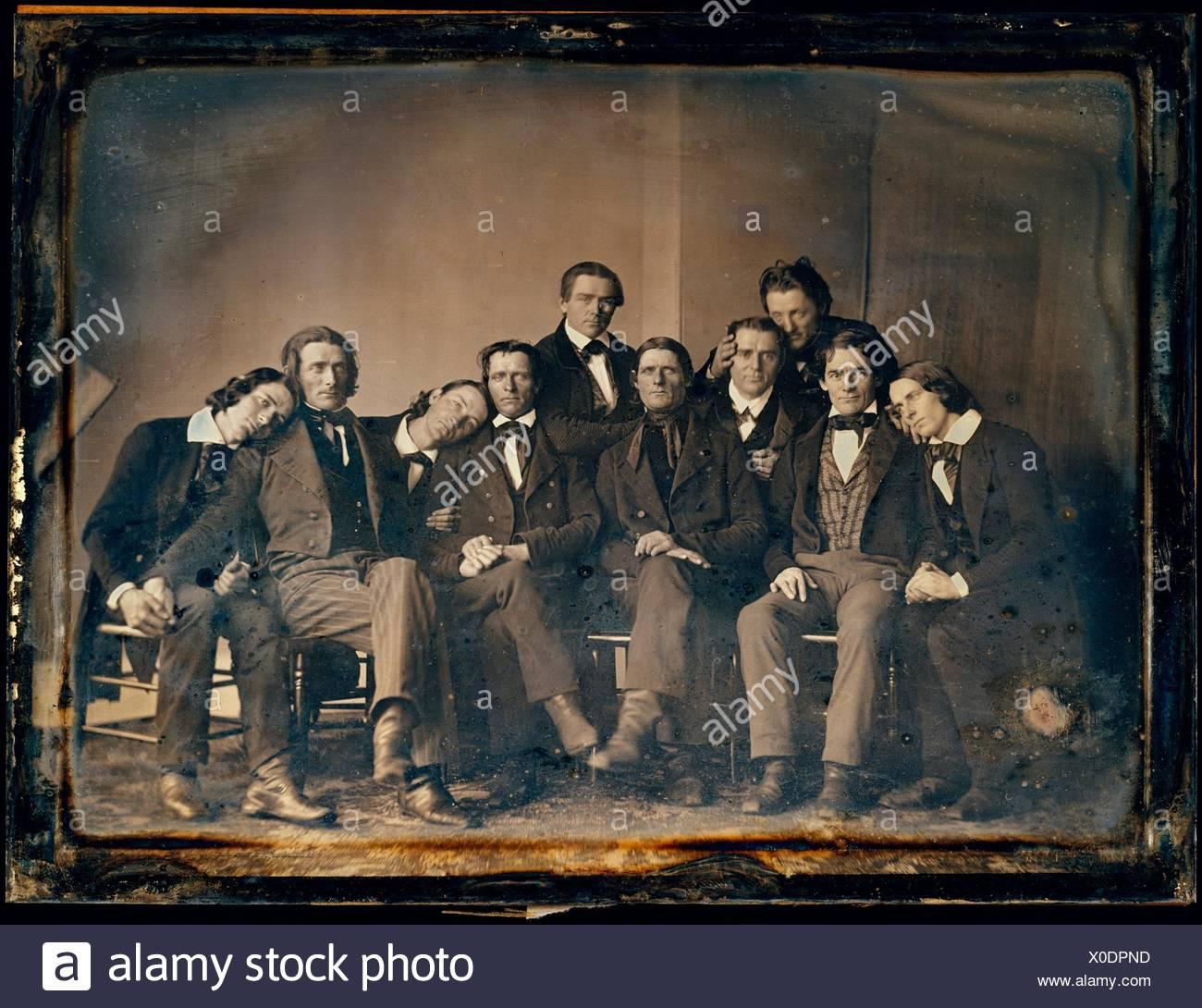 [Hutchinson Familie Sänger]. Artist: Unbekannt; Datum: 1845; Medium: daguerreotypie; Abmessungen: Bild: 14,4 x 19,7 cm (5 11/16 x 7 3/4 in.); Stockbild
