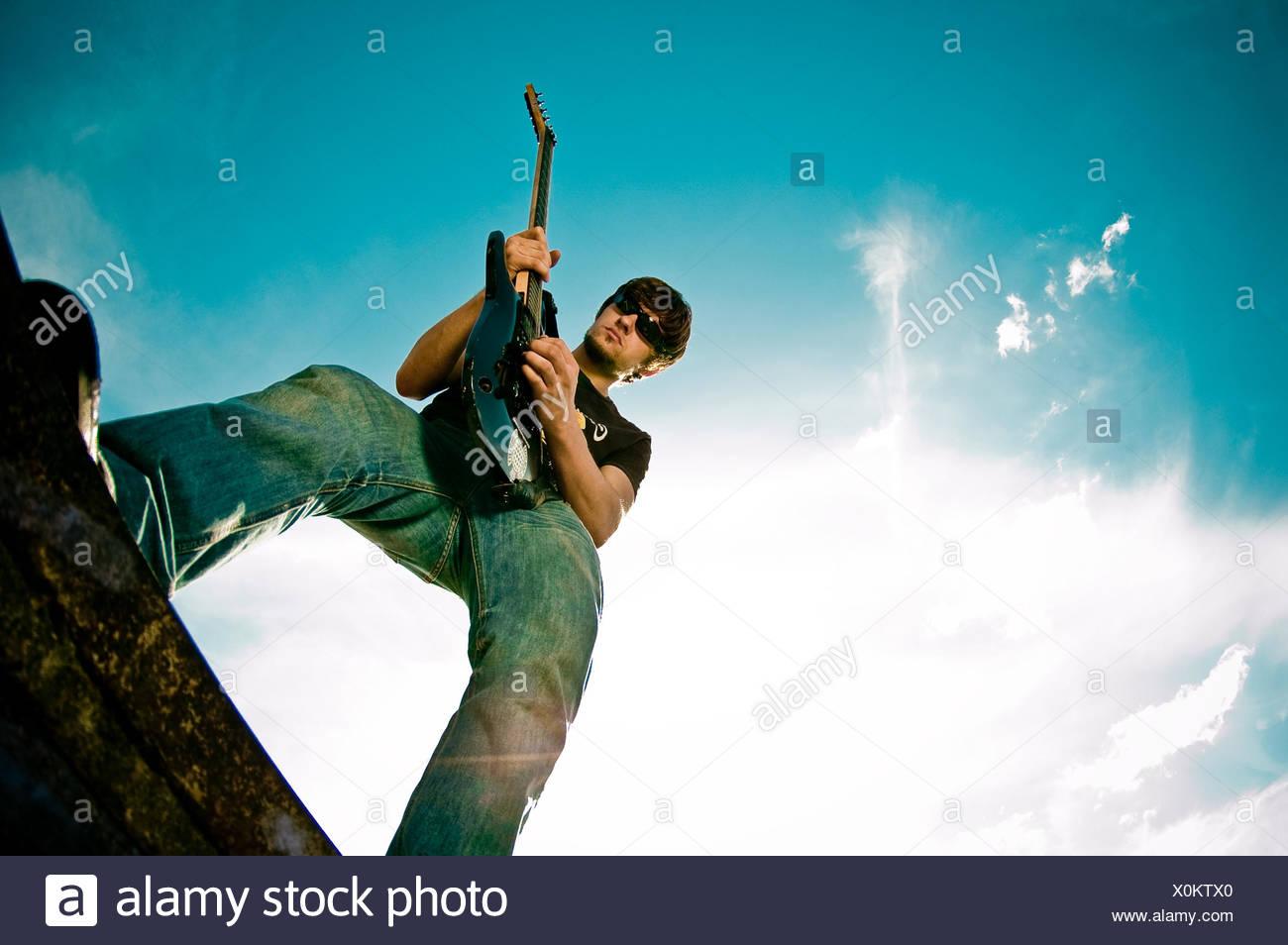 Musiker, Rocker, Gitarrist Stockbild
