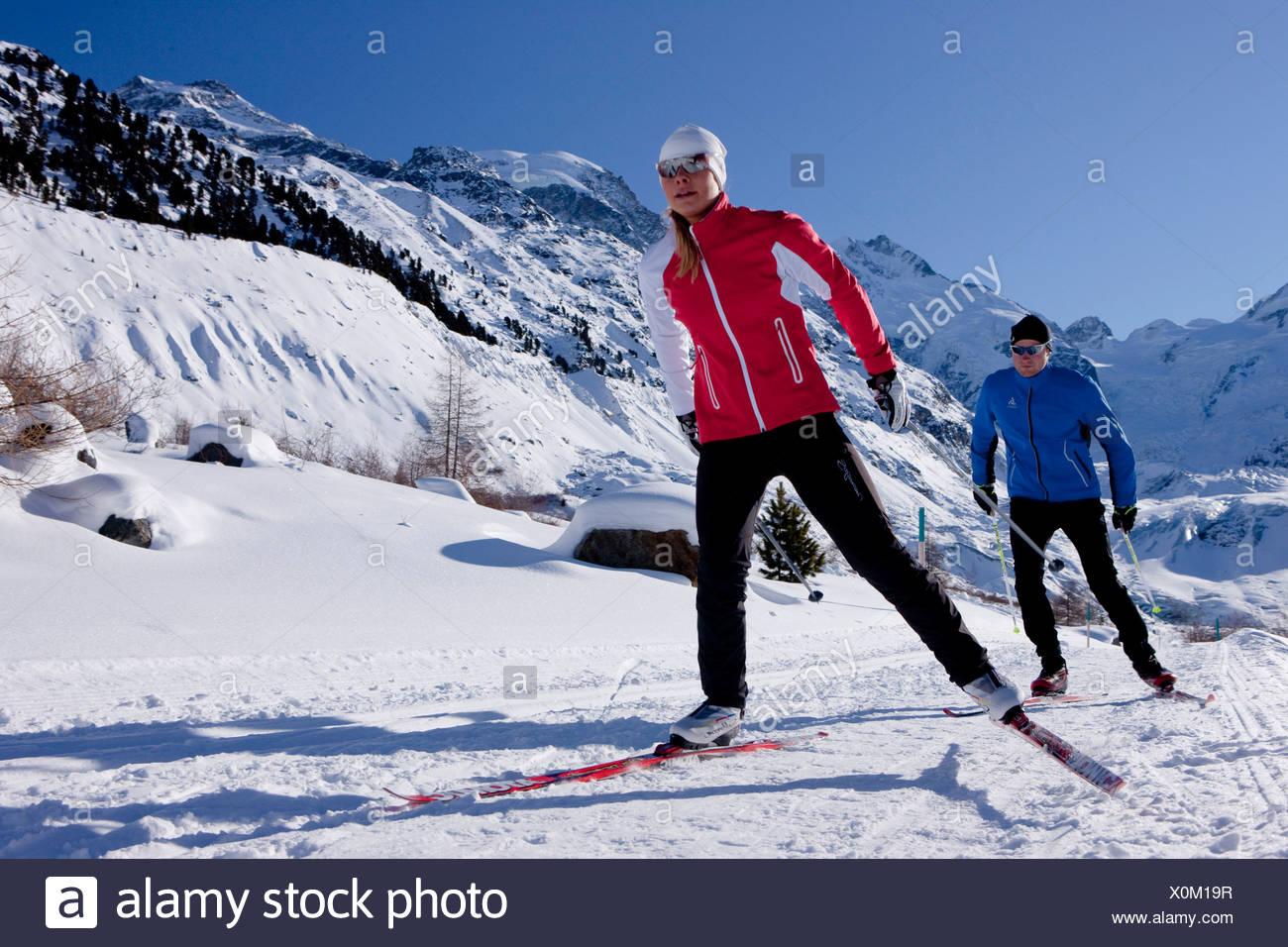 Langlauf, Ski, Bernina-Massiv, Bernina, Winter, Kanton, GR, Graubünden, Graubünden, Engadin, Engadin, Oberengadin, Kreuz-Ländern Stockbild