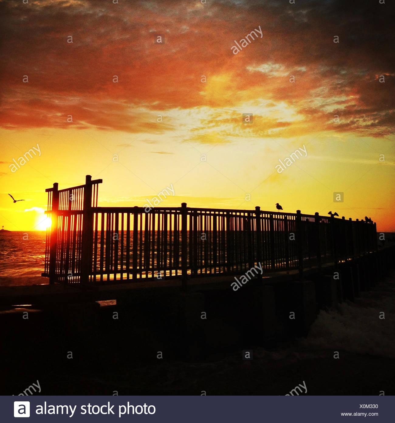 USA, California, Los Angeles, Playa Del Rey, Sonnenuntergang Stockbild
