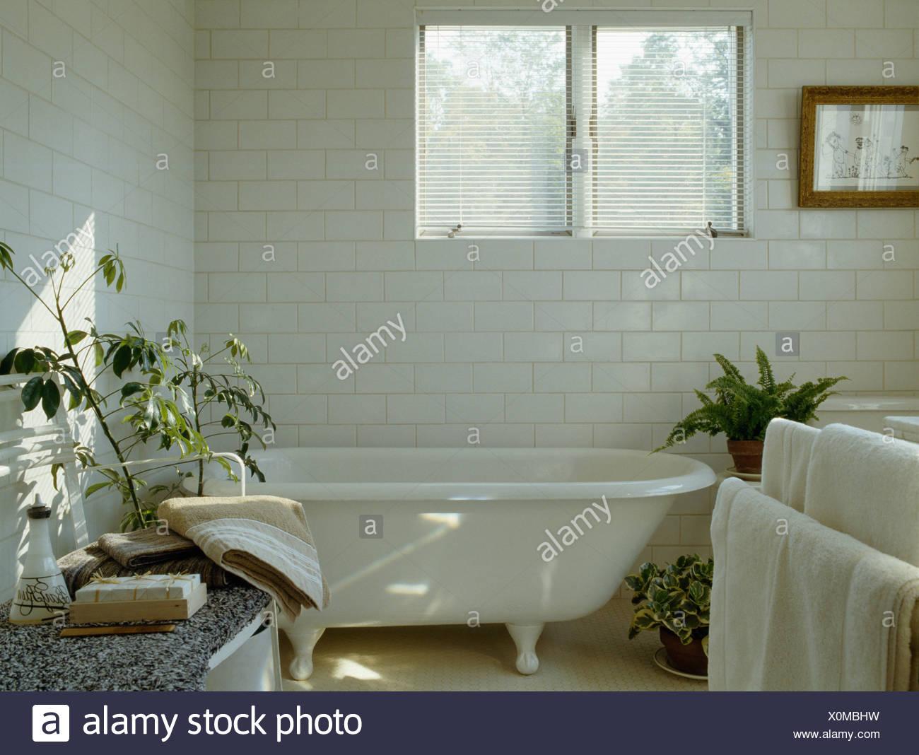 Roll-Top Badewanne unter Fenster in weißen Land Badezimmer mit ...
