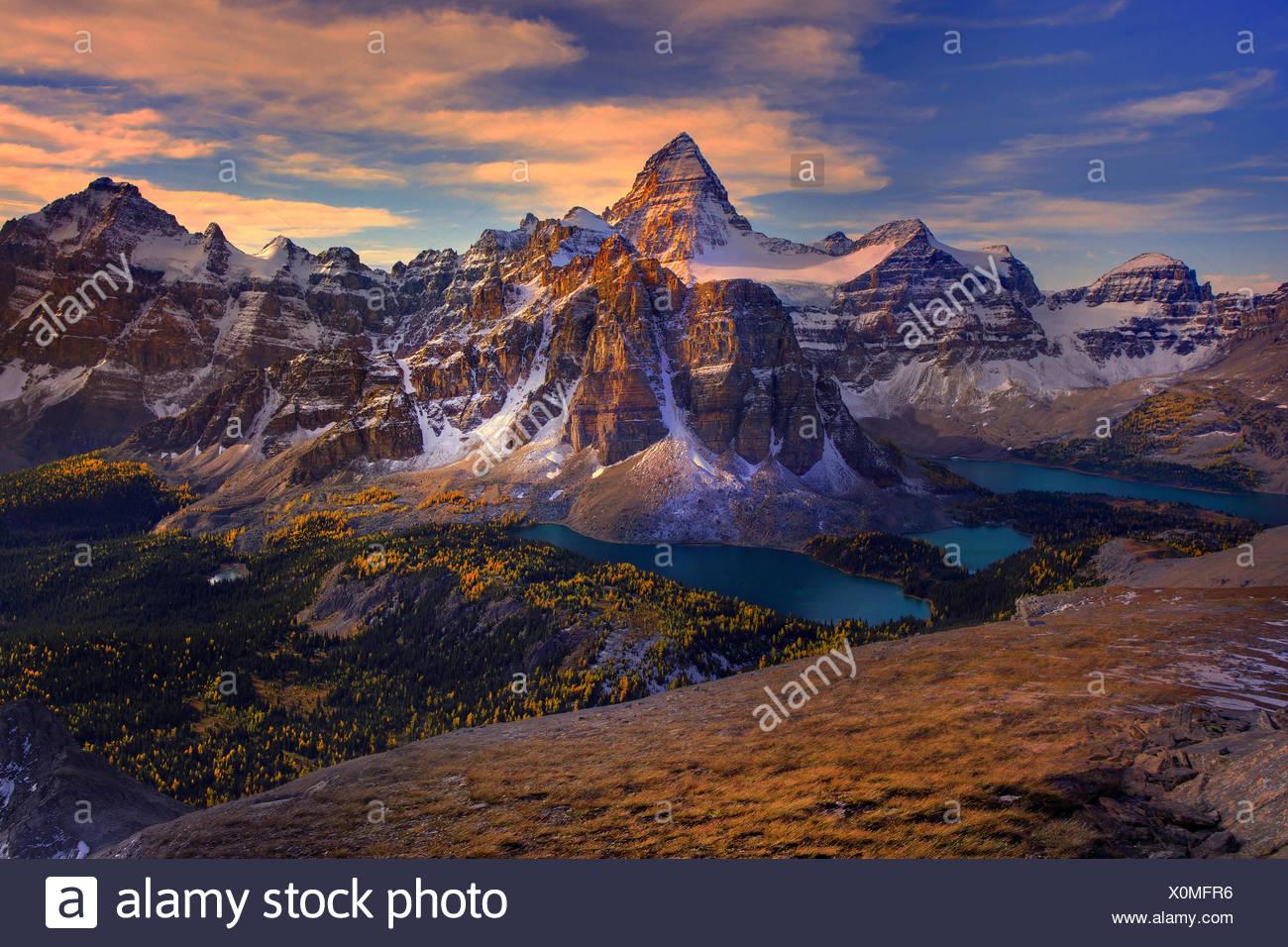 Kanada, Provinz, Natur, Landschaft, Rockies, kanadischen Rocky Mountains, Gebirge, See, Landschaft, Britisch-Kolumbien, Mount Assiniboine, L Stockbild