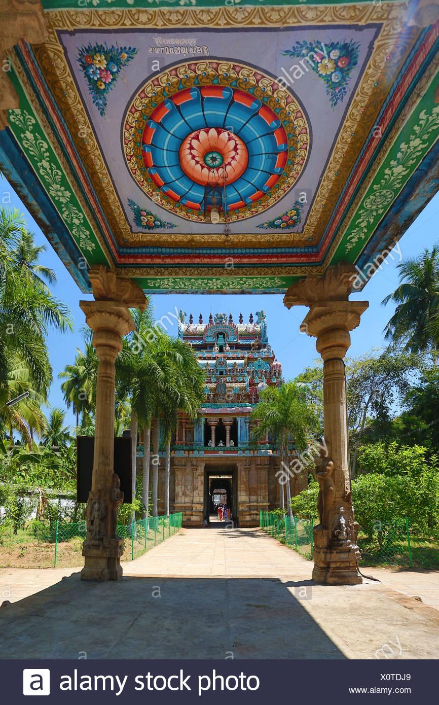 Indien, Süd-Indien, Asien, Tamil Nadu, Tiruchirappali, Trichy, Jambukeshwara, Tempel, Thiruvanaikaval, Lord, Shiva, Kunst, unkompliziert Stockbild