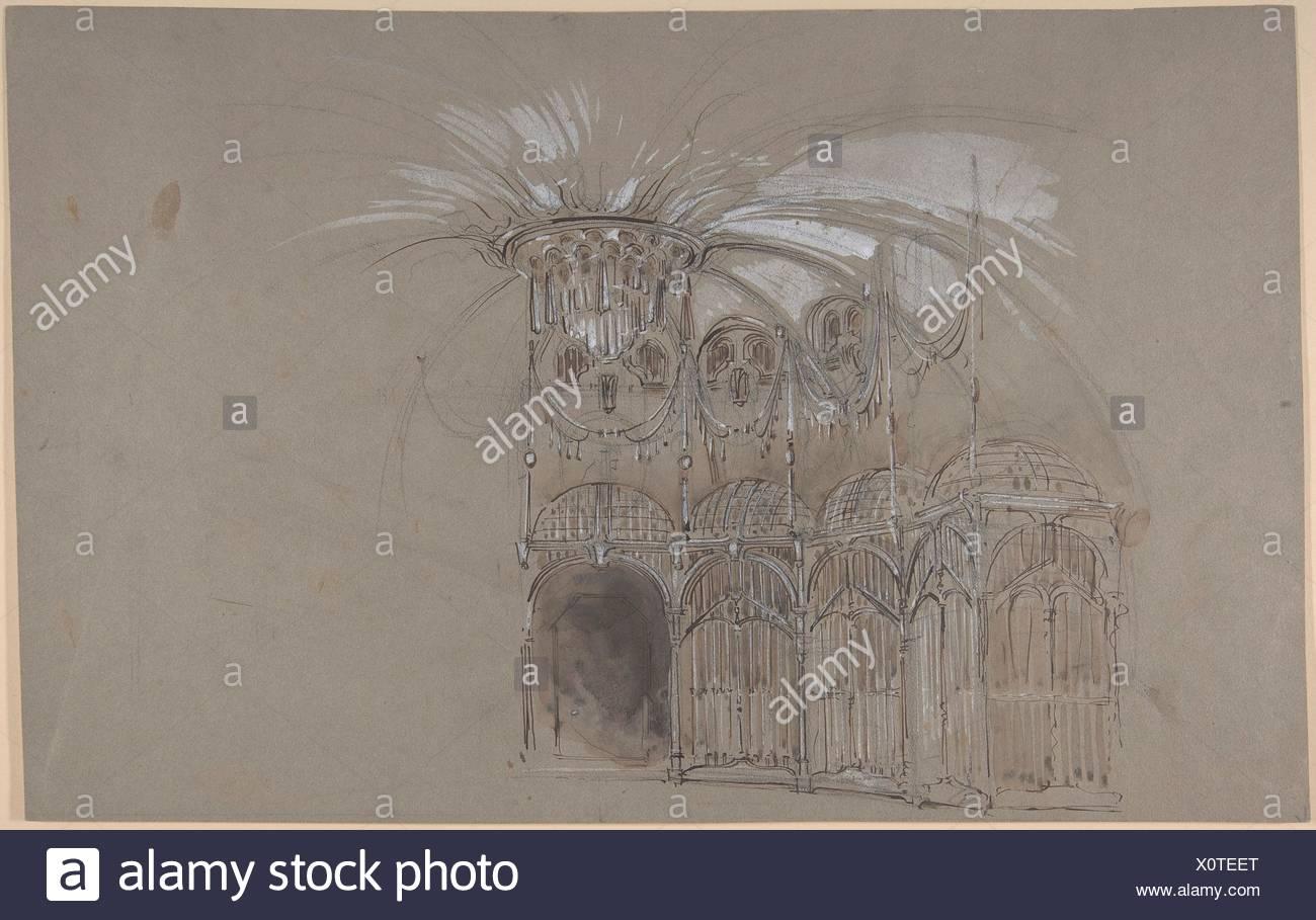 Bühnenbild Design runder Ballsaal mit Kronleuchter. Verso: Grobe ...
