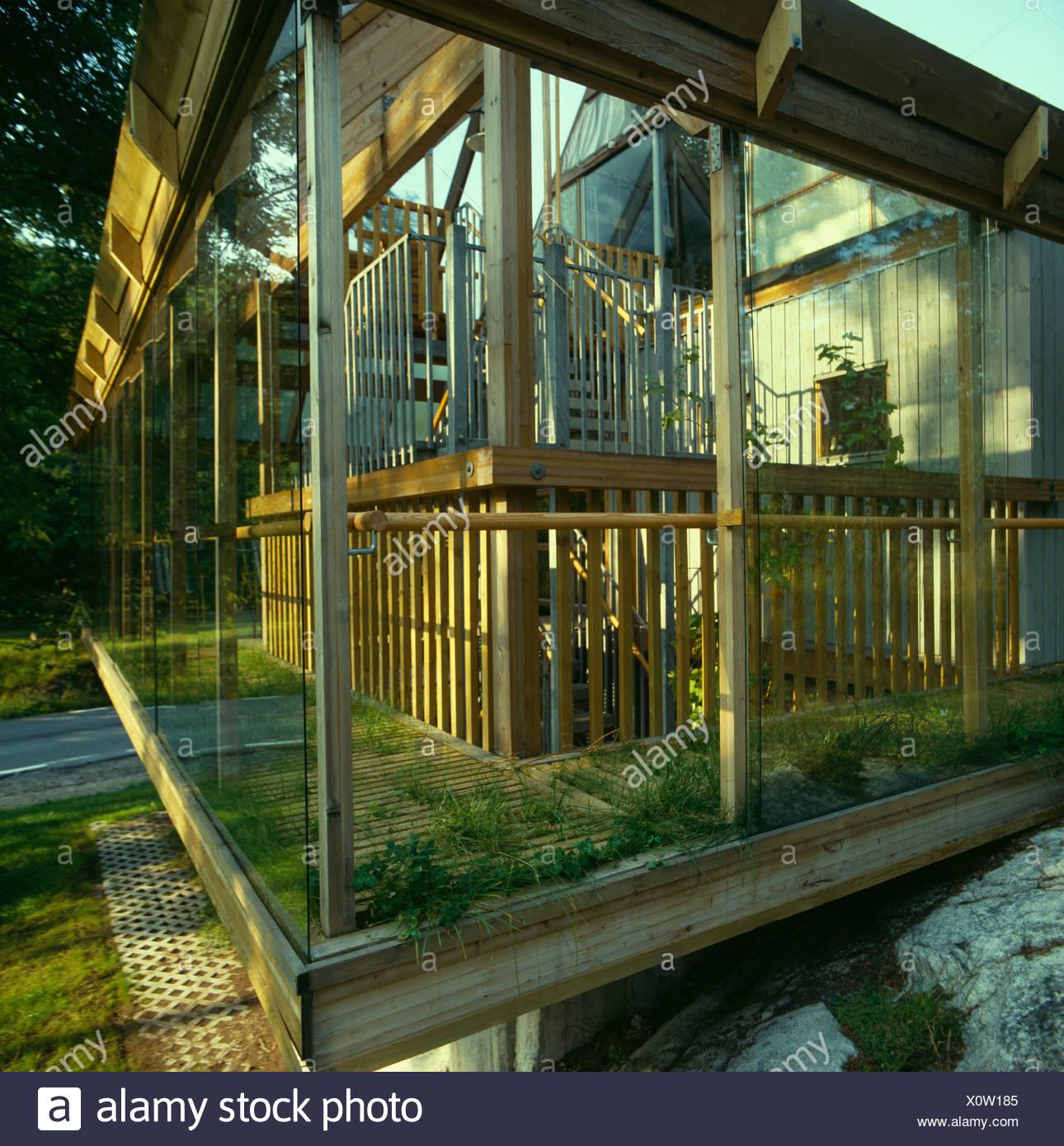 Holz Und Glas Wintergarten Auf Modernen Oko Haus In Danemark