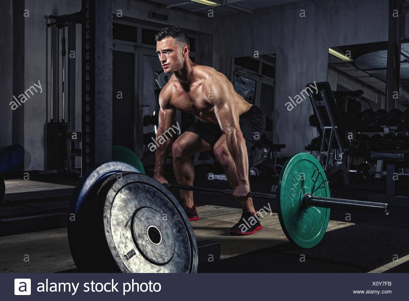 Physische Athlet Gewichtheben Stockbild