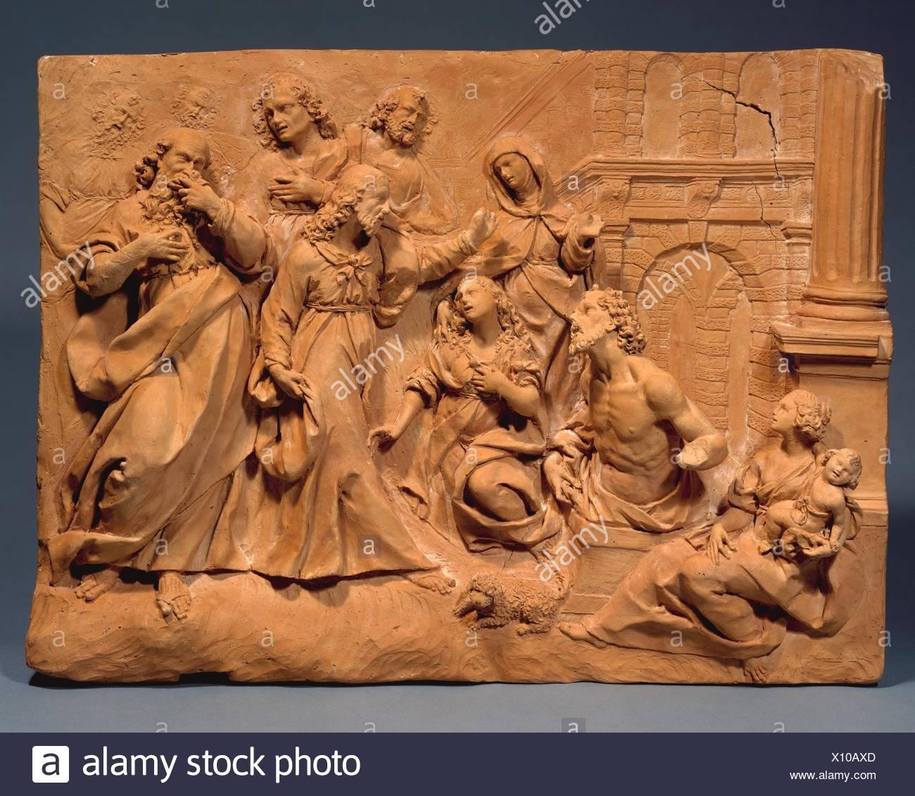 Die Auferweckung des Lazarus. Datum: Ca. 1620; Kultur: Wahrscheinlich Italienisch, Mailand; Medium: Terrakotta; Maße: 14 3/4 x 19 7/8 in. (37,5 x 50,5 cm); Stockbild