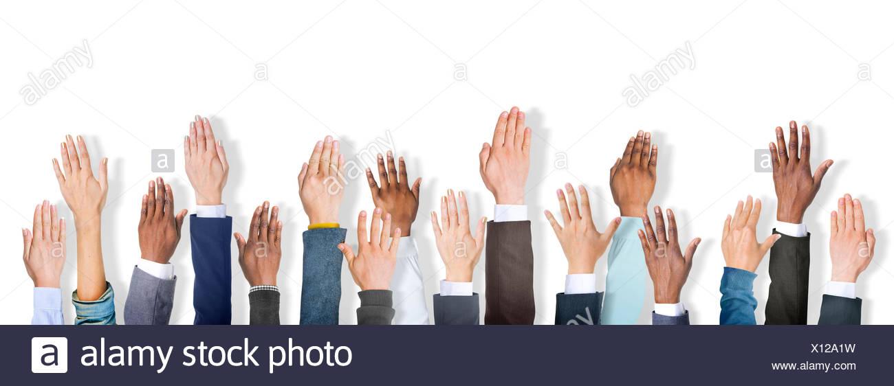 Gruppe von multiethnischen Diverse Handzeichen Stockbild