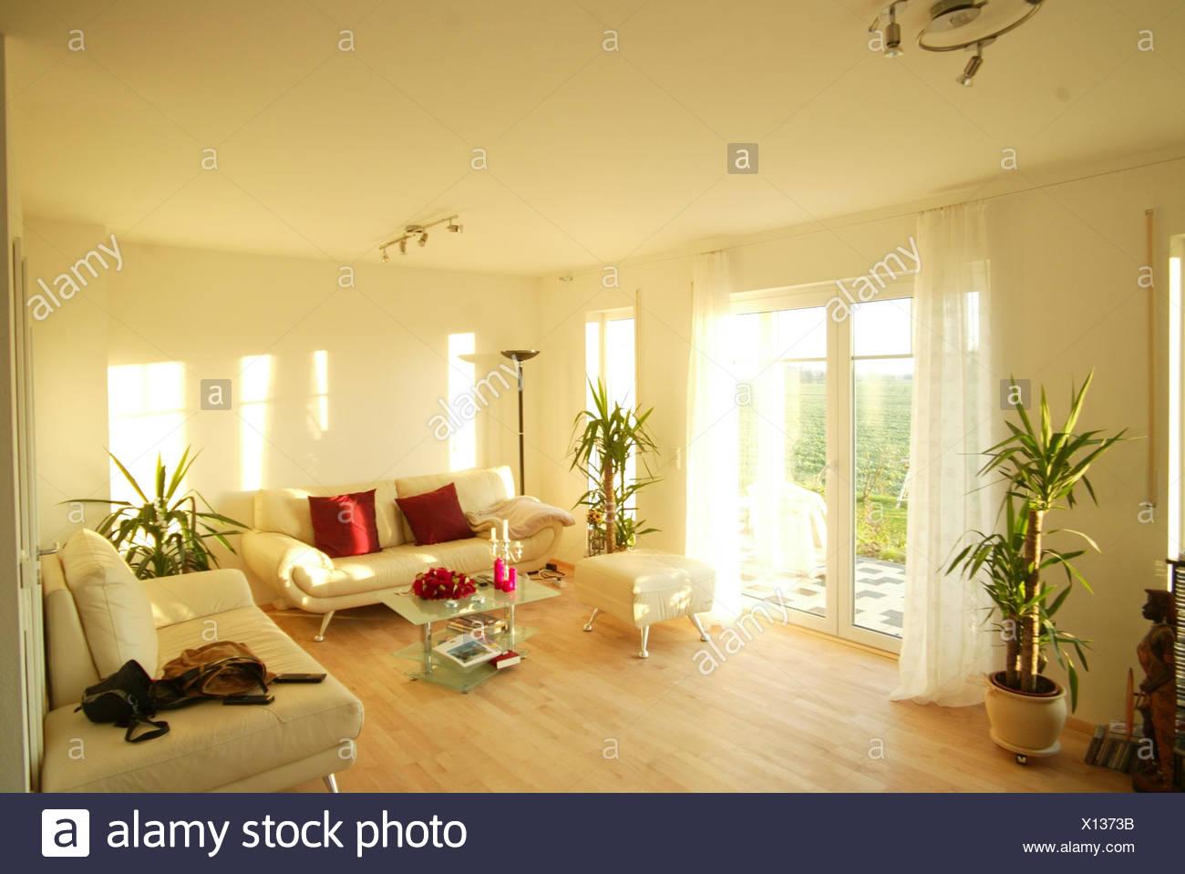 Wohnzimmer, Einrichtung, Modern, Glastisch, Terrassetüre ...