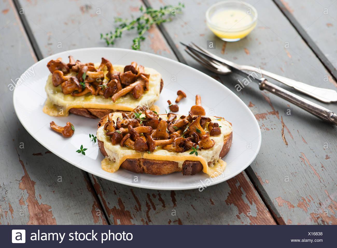 Pfifferling-Sandwiches mit Käse Stockbild