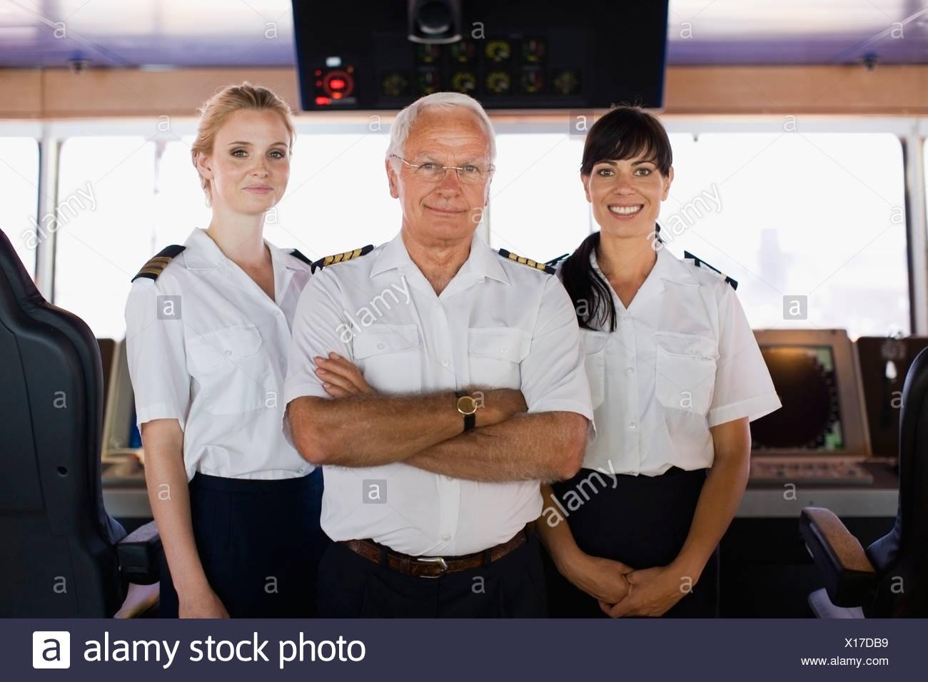 Porträt einer Schiff-Crew Stockbild