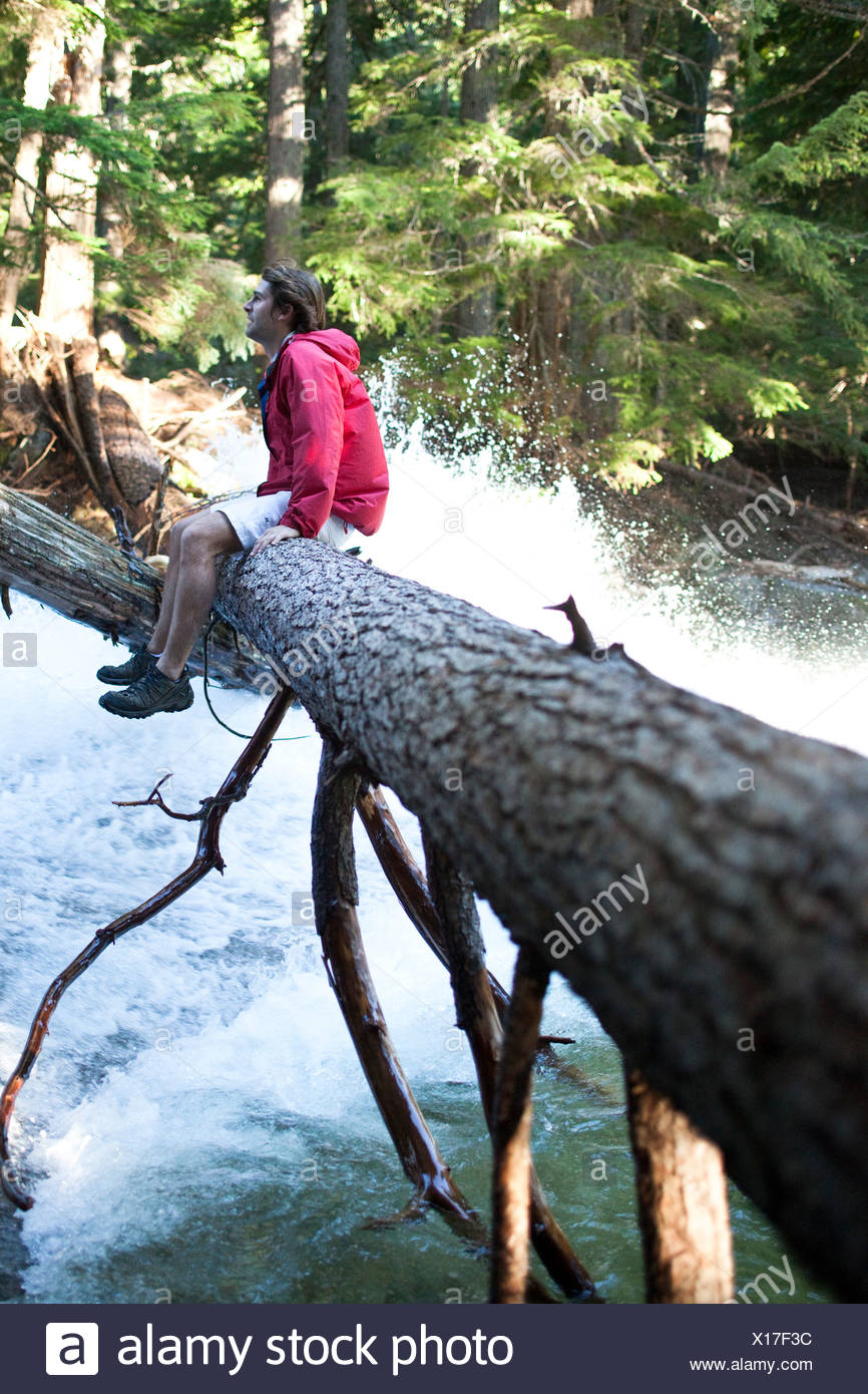 Ein junger Mann sitzt auf einem Baumstamm über einem Wasserfall in Idaho. Stockbild