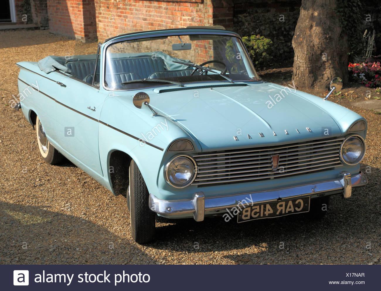 Hillman Super Minx, 1960er Jahre motor Oldtimer, britische Oldtimer Fahrzeuge Hillmans, Cabrio Cabrios, England UK Stockbild