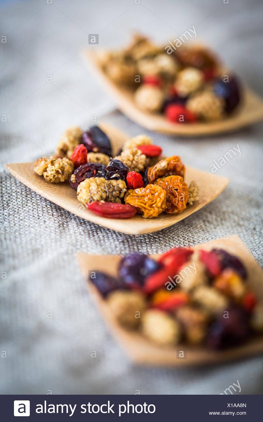 Superfrüchte sind unter anderem Vitamine, Mineralien und Spurenelementen. Stockbild
