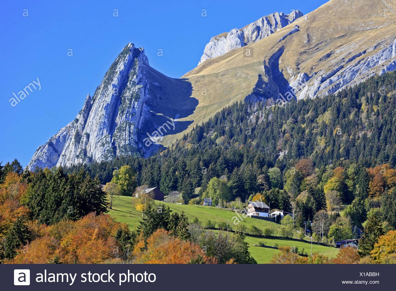 Schweiz, Schweizer Alpen, Appenzell, St. Gallen, alp Stein massiv, Stockbild