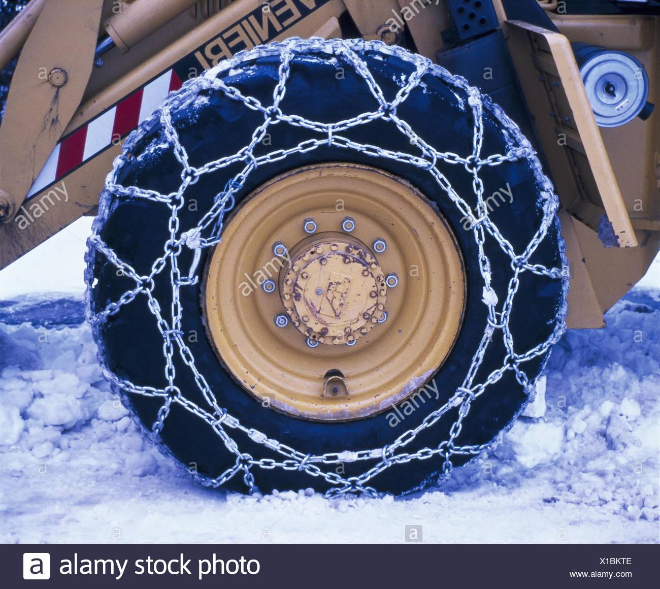 Räumfahrzeug, Detail, Reifen, Anti-Rutsch-Ketten, Schnee, Winter, wheeled Loader, Winterdienst, Fahrzeug, zu Schnee Räumen Stockbild