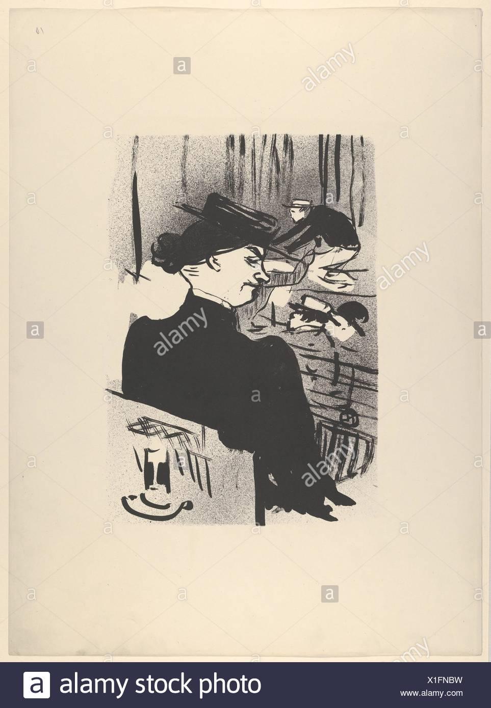 Ein Zuschauer (von Le Café Konzert). Serie/Portfolio: Le Café Konzert; Suite von elf Lithographien; Künstler: Henri de Toulouse-Lautrec (Französisch, Albi Stockbild