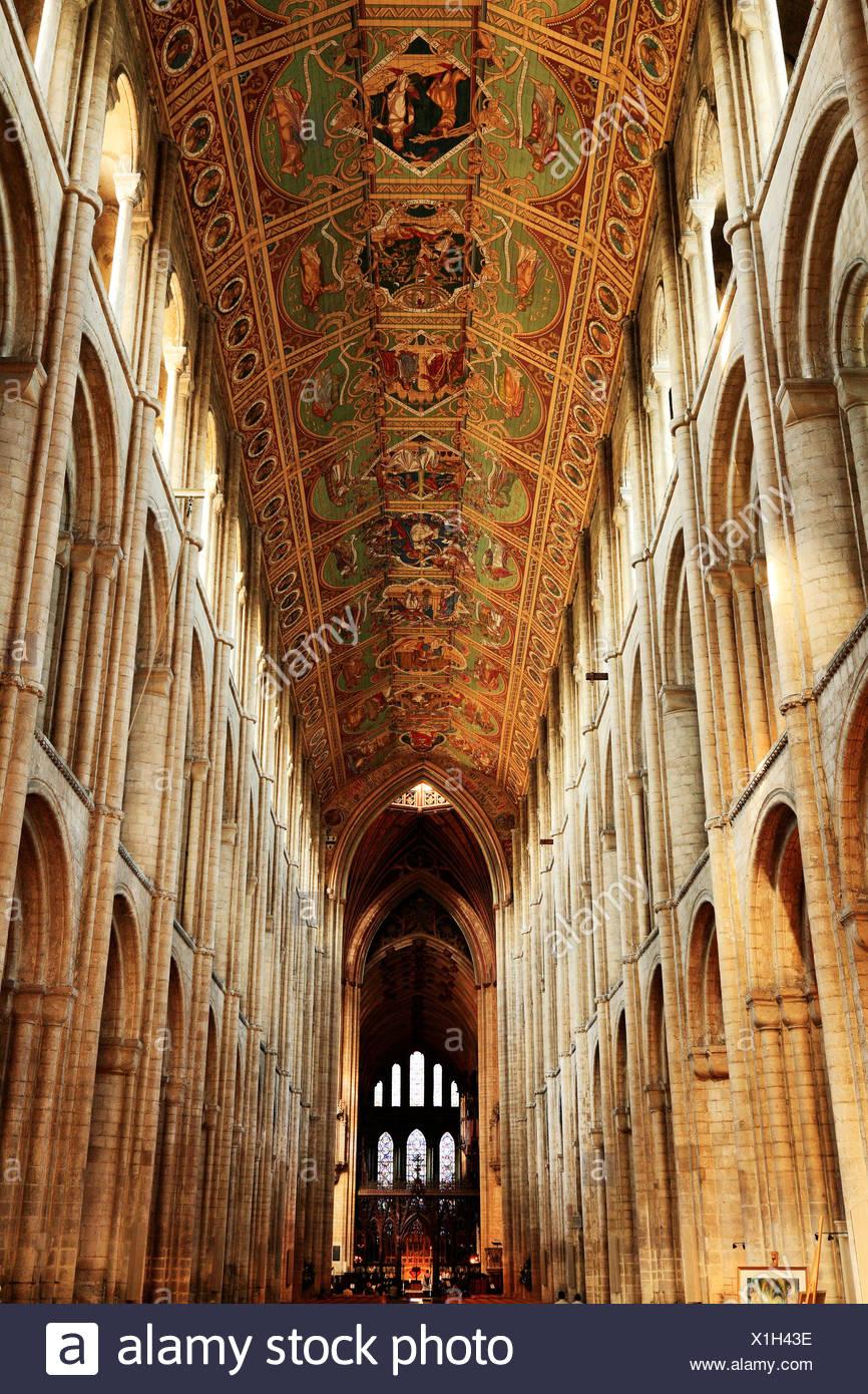 Ely Cathedral, das Kirchenschiff und die Decke, auf der Suche nach Osten, innen Interieur, Cambridgeshire England UK Englisch mittelalterlichen Kathedralen Stockbild