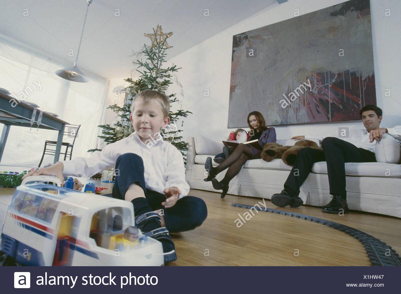 Weihnachten, Familie, Vertrieb präsentiert, glücklich, Menschen ...