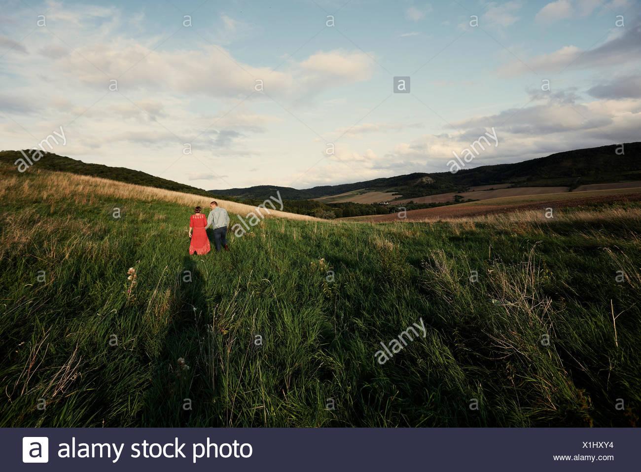 Ansicht der Rückseite des mittleren nach Paar hält Hände beim Bummeln in Felder Stockbild