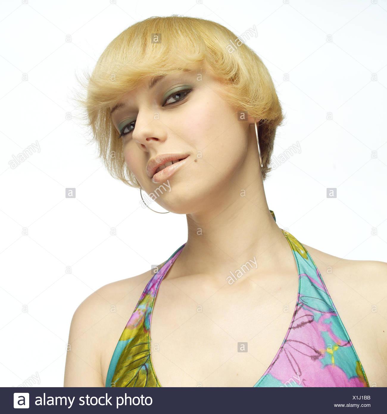 Frau Jung Blond Gesichts Spielen Abschirmenden