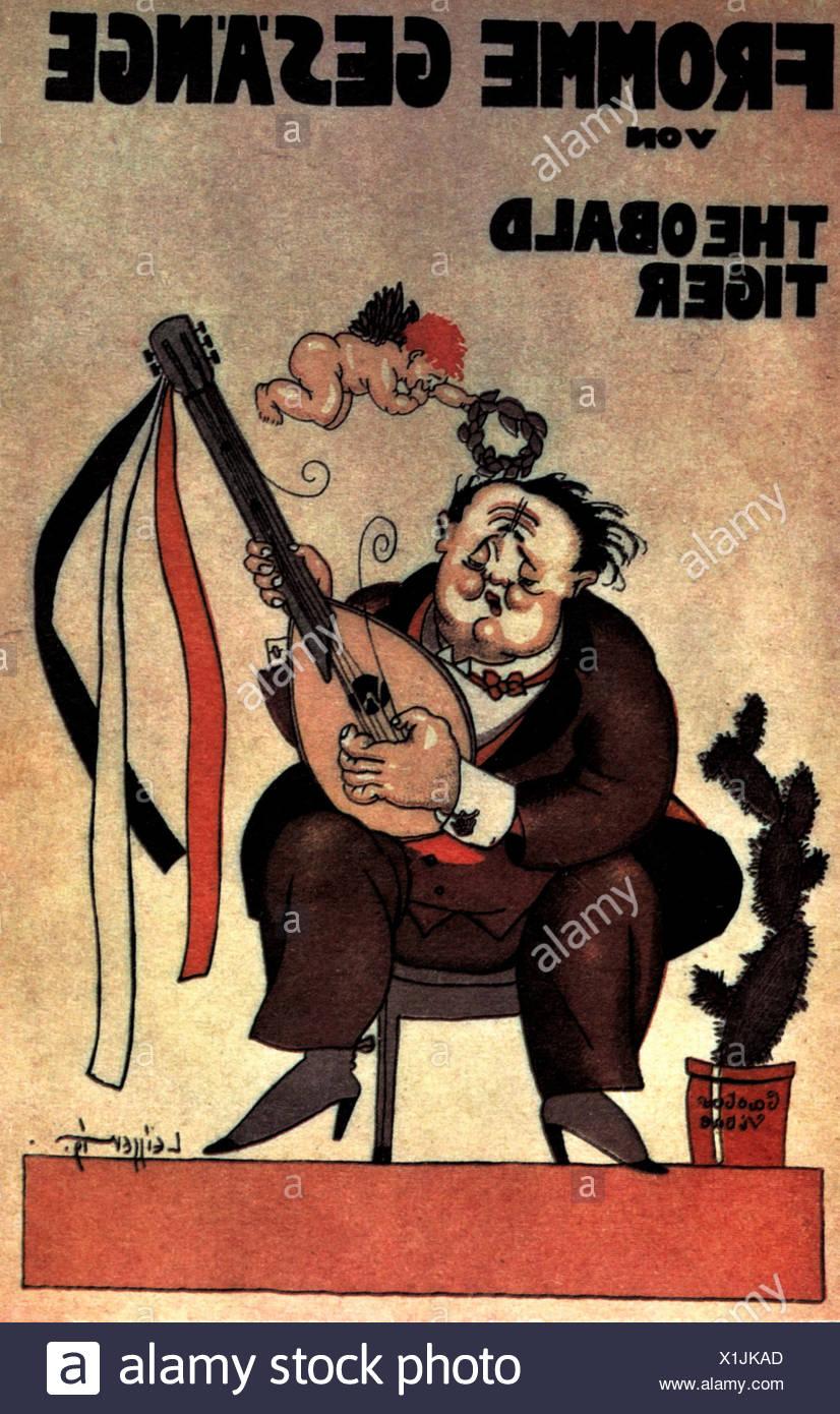 """Tucholsky, Kurt, 9.1.1890 - 21.12.1935, deutscher Autor/Schriftsteller, Publizist, Werke, Zeichnung von Theodor Leisser für seine Arbeit """"Fromme Gesaenge"""" (fromme Lieder), Titelseite, 1919, Additional-Rights-Spiel-NA Stockbild"""